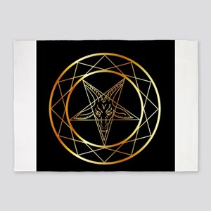 Golden sigil of Baphomet 5'x7'Area Rug