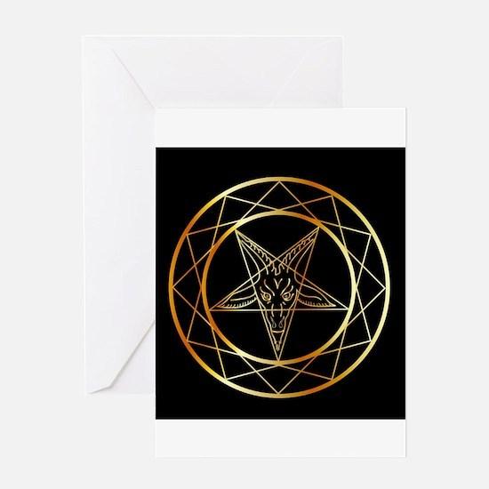 Golden sigil of Baphomet Greeting Cards
