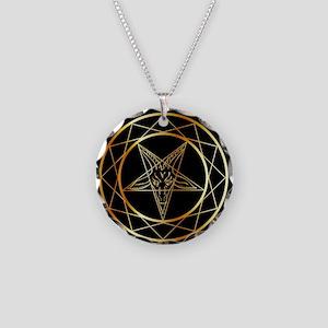 Golden sigil of Baphomet Necklace Circle Charm
