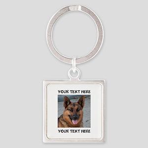 Dog German Shepherd Square Keychain