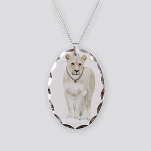 White Lioness Necklace Oval Charm