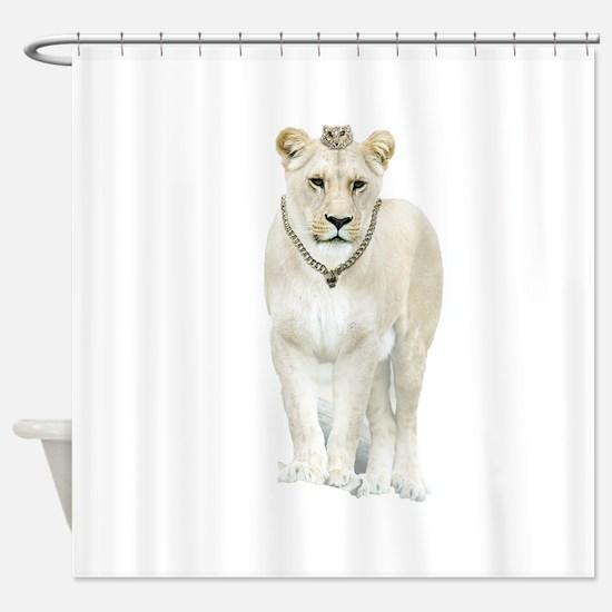 White Lioness Shower Curtain