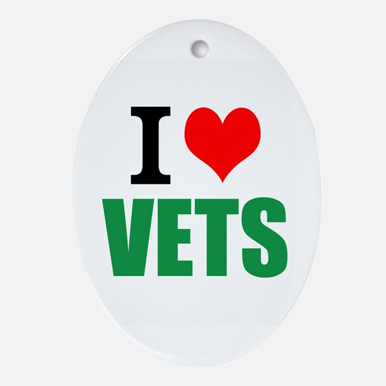 I Love Vets Oval Ornament