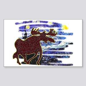 Starry Starry Moose Rectangle Sticker