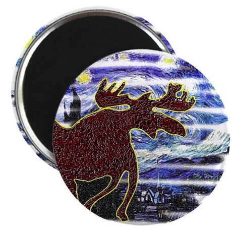 Starry Starry Moose Magnet