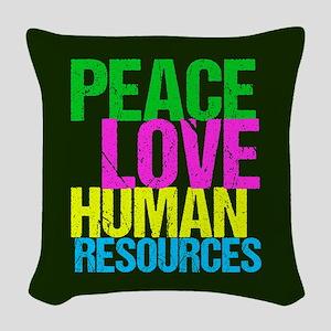 Peace Love HR Woven Throw Pillow