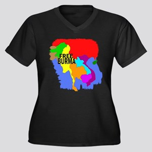 Burma Map Women's Plus Size V-Neck Dark T-Shirt