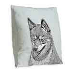 Alaskan Klee Kai Burlap Throw Pillow