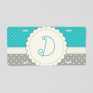 Cute Monogram Letter D Aluminum License Plate