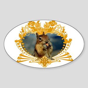 Squirrely Squirrel Crest Oval Sticker