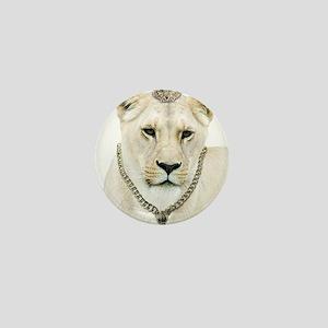 White Lioness Mini Button