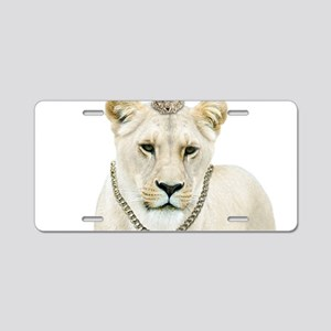 White Lioness Aluminum License Plate