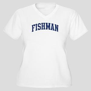FISHMAN design (blue) Women's Plus Size V-Neck T-S