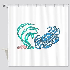 Blue Crab Graphic Design Shower Curtain