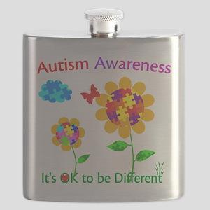 Autism Awareness Sunflower Flask