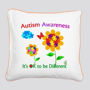 Autism Awareness Sunflower Square Canvas Pillow