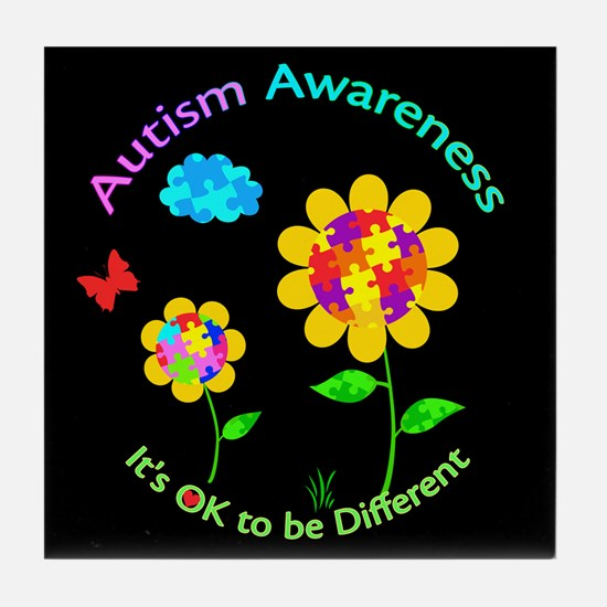 Autism Awareness Sunflower Tile Coaster
