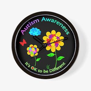 Autism Awareness Sunflower Wall Clock