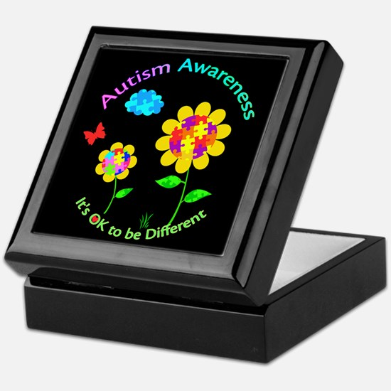 Autism Awareness Sunflower Keepsake Box