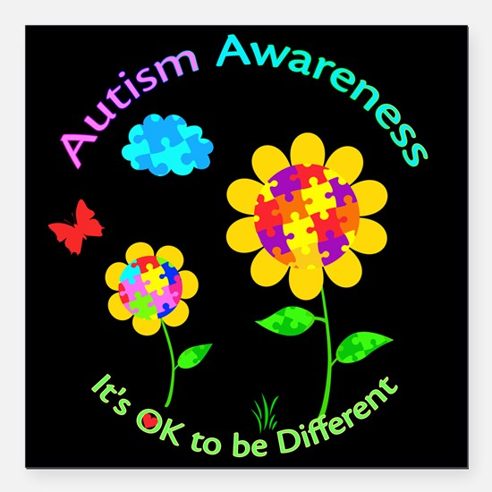 "Autism Awareness Sunflow Square Car Magnet 3"" x 3"""