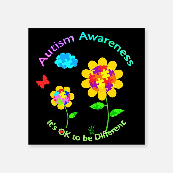 "Autism Awareness Sunflower Square Sticker 3"" x 3"""