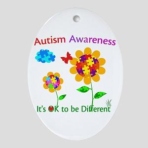 Autism Awareness Sunflower Oval Ornament