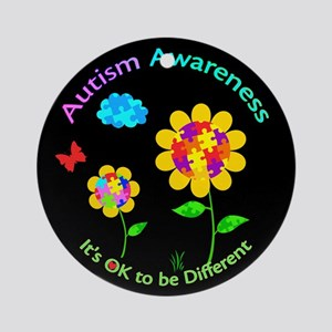 Autism Awareness Sunflower Round Ornament