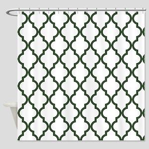 Green, Pine: Quatrefoil Moroccan Pa Shower Curtain