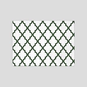 Green, Pine: Quatrefoil Moroccan Pa 5'x7'Area Rug