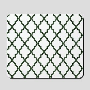 Green, Pine: Quatrefoil Moroccan Pattern Mousepad