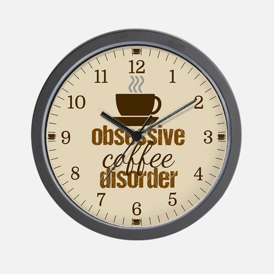 Obsessive Coffee Disorder Wall Clock