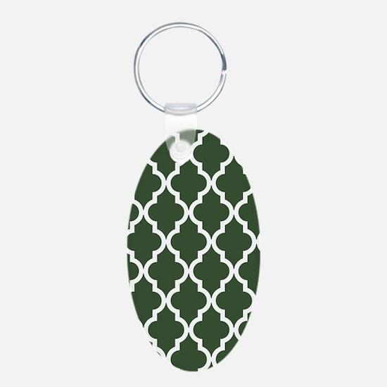 Green, Pine: Quatrefoil Mor Keychains