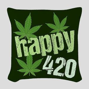 Happy 420 Woven Throw Pillow