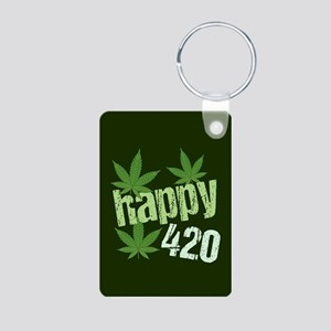 Happy 420 Aluminum Photo Keychain