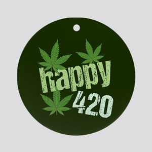 Happy 420 Round Ornament