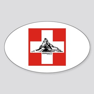 flag&mountain Oval Sticker