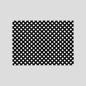 Black and White Polka Dots 5'x7'Area Rug