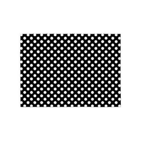 Beautiful Black And White Polka Dots 5u0027x7u0027Area Rug