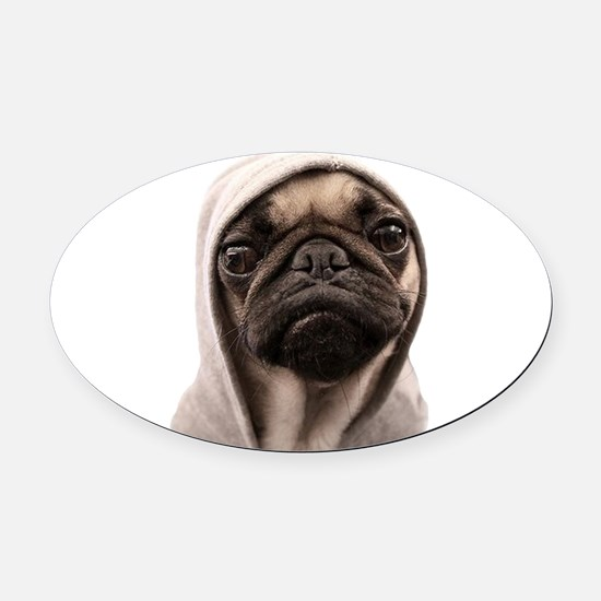 Pug Life Oval Car Magnet