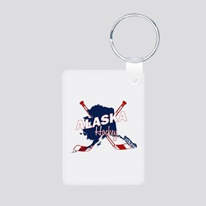 Alaska Hockey Aluminum Photo Keychain