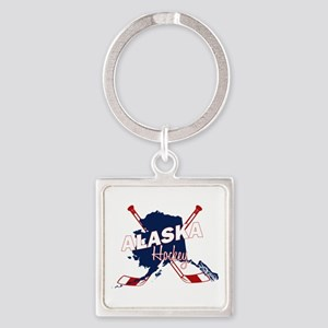 Alaska Hockey Square Keychain