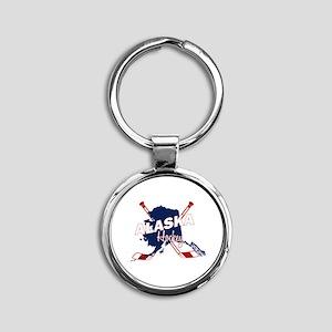 Alaska Hockey Round Keychain