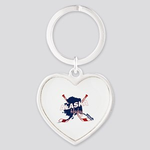 Alaska Hockey Heart Keychain