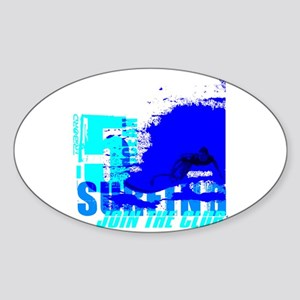 High tech surf Oval Sticker