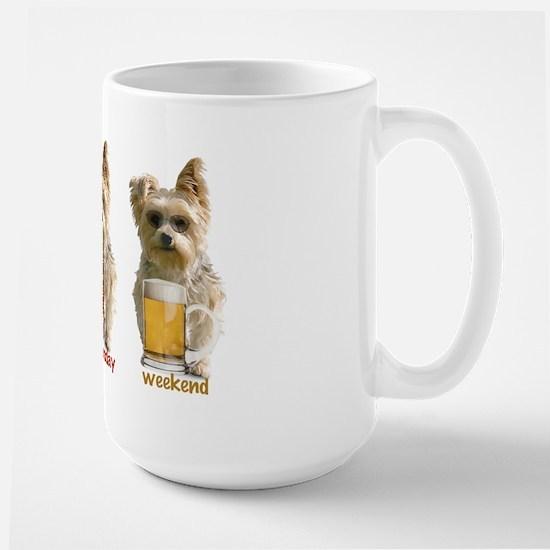 """""""3 day week"""" yorkie Large Mug"""