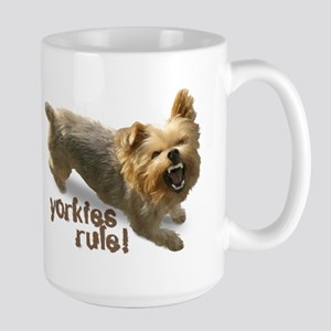 """yorkies rule"" Large Mug"