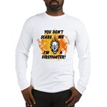 Firefighter Skull and Flames Long Sleeve T-Shirt