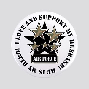 "Air Force Husband Stars 3.5"" Button"