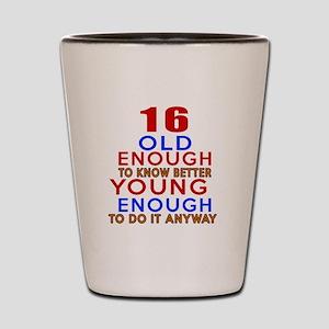 16 Old Enough Young Enough Birthday Des Shot Glass