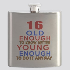 16 Old Enough Young Enough Birthday Designs Flask